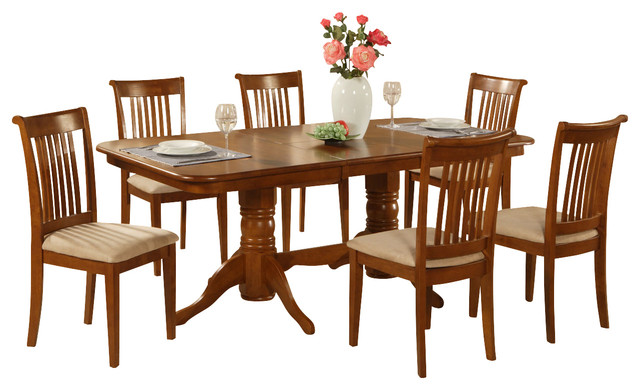 7 pc dining room set table with a leaf and 6 chairs for