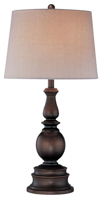 Table Lamp, Dark Bronze W/Linen Fabric Shade, Type A 150W traditional-table-lamps