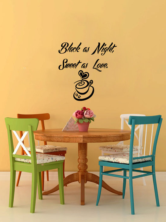 Vinyl Decals Black Night Sweet Love Cup Home Wall Decor Removable Sticker Mural -