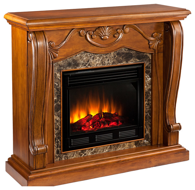 Taylor Fireplace, Walnut, Electric traditional-fireplaces