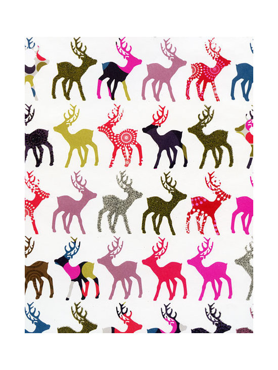 Holiday Gift Wrap Sheet, Patterned Reindeer -