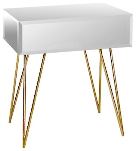 Worlds Away Debra Mirrored Nightstand With Gold Hairpin