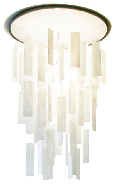 """MOVIMENTO Chandelier - Round, White - Brushed, 28""""dia X 42""""h, Brushed contemporary-chandeliers"""