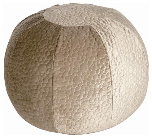 Arteriors Priscilla Champagne Quilted Velvet Pouf