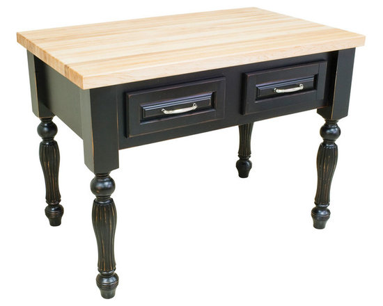 """Inviting Home - Kitchen Island (distressed black) - kitchen island in distressed black finish; 45-15/16""""W x 28-1/16""""D x 34-1/4""""H; 1-3/4"""" hard maple butcher block top (03) sold separately; Kitchen island in distressed black finish. Kitchen island features soft close under-mount slides on drawers and reeded kitchen island legs. 1-3/4"""" hard maple butcher block top (03) sold separately."""