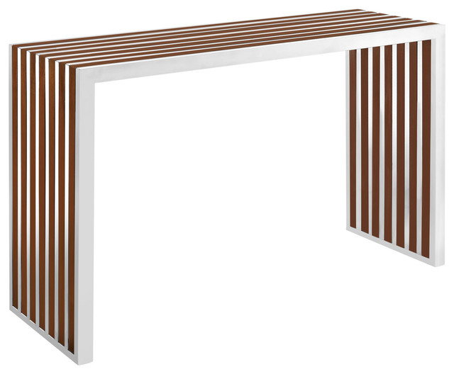 Gridiron stainless steel wood inlay console table for Contemporary wood console tables