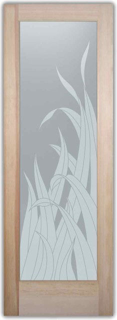 Bathroom doors interior glass doors frosted reeds for Solid glass shower doors