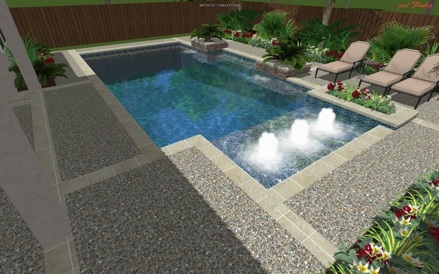 Cypress Custom Pools --- Modern Clean Design W/ Travertine modern