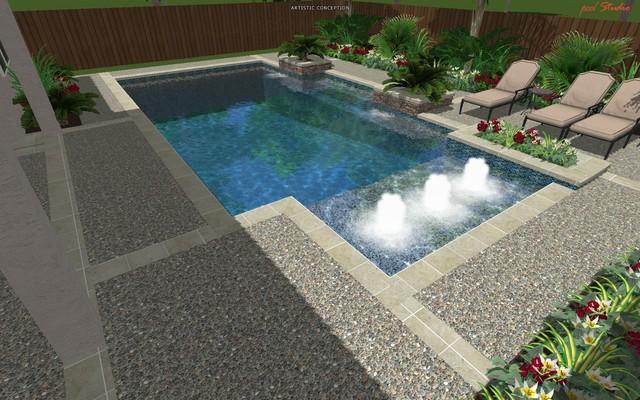 Cypress Custom Pools --- Modern Clean Design W/ Travertine modern