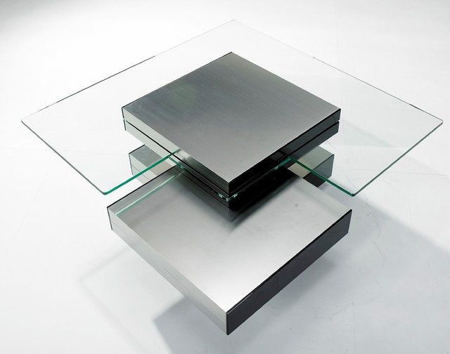 Contemporary glass multi level coffee table Glass contemporary coffee table