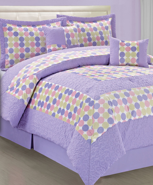 Purple green big dot comforter set contemporary - Green and purple comforter ...