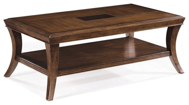 The Magnussen T1777 Blaine Wood Rectangular Coffee Table has a wide, angular modern-coffee-tables
