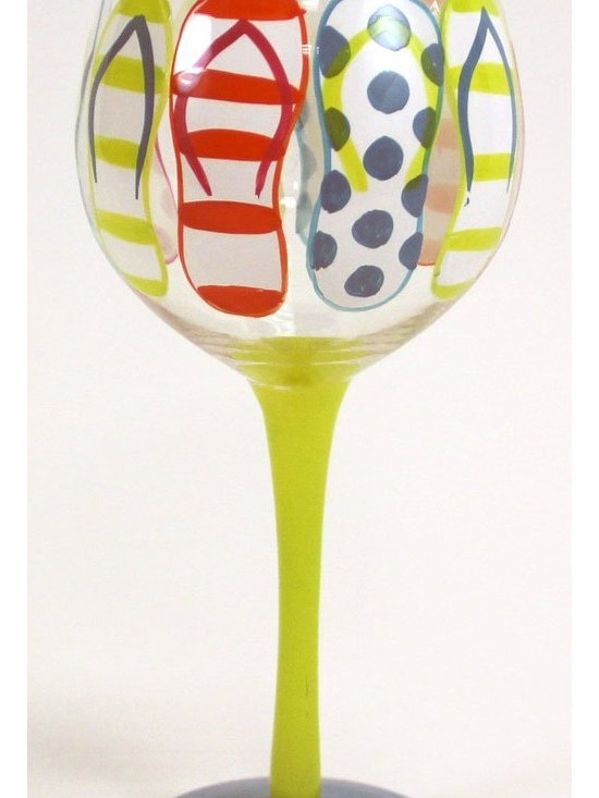"""Hand Painted """"Flip Flop"""" Wine Glass, Holds 18 Oz - Hand Painted Wine Glass is a perfect goblet at your wine party, girls night, festive gathering and when you are enjoying a glass of wine at home."""