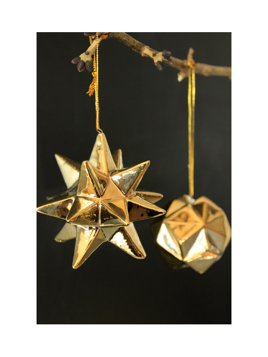 Set of 2 Gold Porcelain Star Ball Baubles -