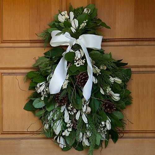 White White Fresh Christmas Door Swag traditional-holiday-decorations
