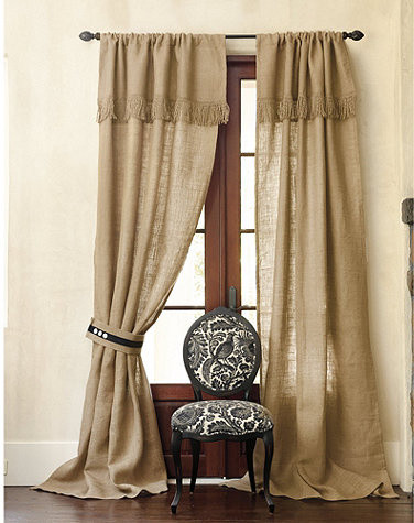 Burlap panel with fringed valance farmhouse curtains for Traditional kitchen curtains