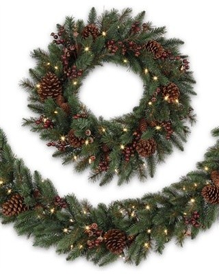 Balsam Hill California Baby Redwood™ Rustic Decorated Wreath and Garland traditional-wreaths-and-garlands