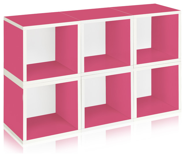 Way Basics Stackable Modular Storage 6 Cubes, Pink modern-storage-units-and-cabinets