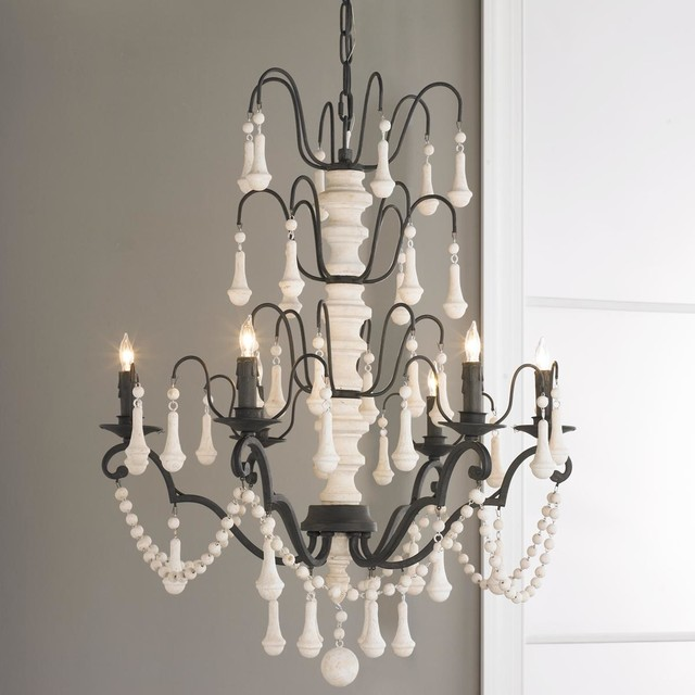 White Iron And Wood Spindle Chandelier