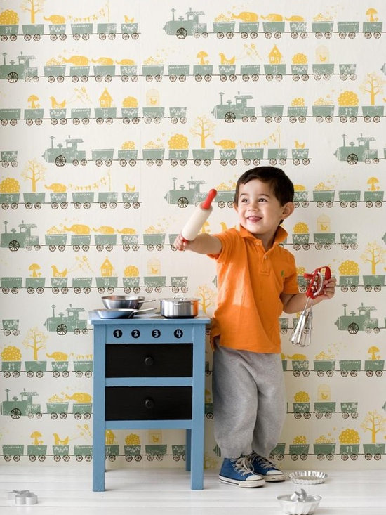 Ferm Living Tiny Train Wallpaper - Ferm Living's Wallpaper is graphic & whimsical adding character, charm and personality to any room. Wallpaper has a striking effect and will without a doubt turn your room into a sanctuary.