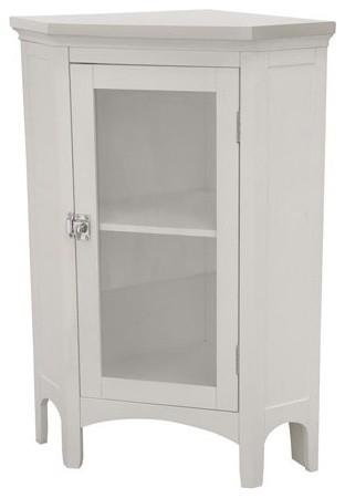 Madison Avenue White Corner Floor Cabinet traditional-bathroom-storage