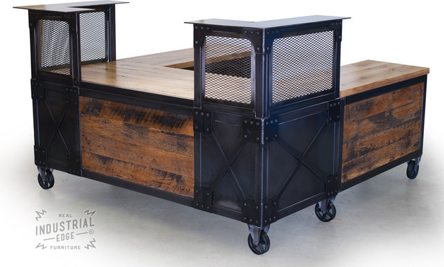 custom reclaimed wood metal reception desk for crush gym eclectic