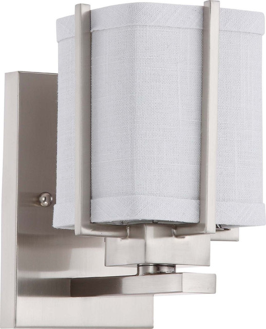 Brushed Nickel Energy Star Wall Sconce With Slate Gray Fabric Shade contemporary-wall-lighting