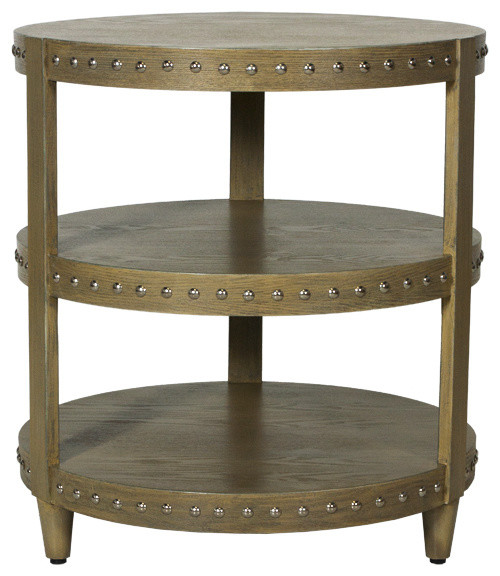 Worlds Away Three Tier Studded Side Table-Available in Three Different Colors, L contemporary-side-tables-and-end-tables