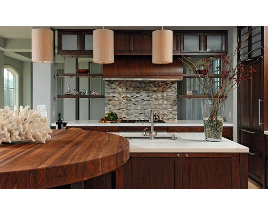 Walnut Countertop Table. Designed by Jennifer Gilmer Kitchen & Bath Ltd. - http://www.glumber.com/