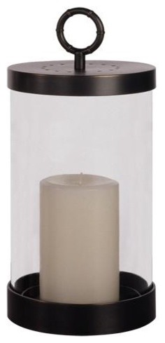 Robert Abbey Jonathan Adler Meurice Hurricane Candle Holder in Bronze traditional-candles-and-candleholders