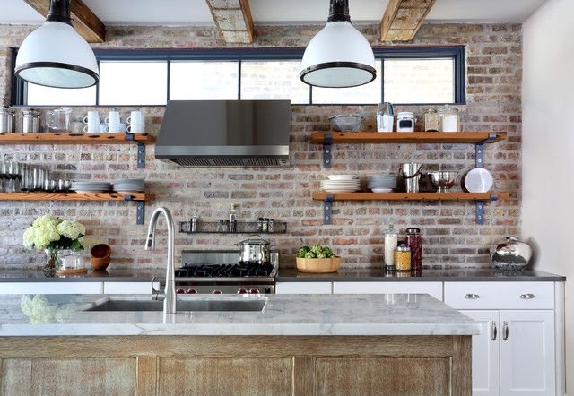 exposed brick kitchen backsplash inspires eclectic
