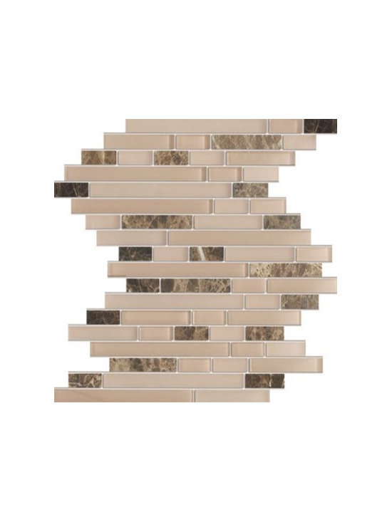 Random Bricks Pattern Zen Espresso Dark Emperador Marble Stone & Glass Mesh-Moun - Random Bricks Pattern Zen Espresso Dark Emperador Marble Stone & Glass Mesh-Mounted Mosaic Tile is a great way to enhance your decor with a traditional aesthetic touch. This Mosaic Tile is constructed from durable, impervious Marble & Glass material, comes in a smooth, unglazed finish and is suitable for installation on floors, walls and countertops in commercial and residential spaces such as bathrooms and kitchens.