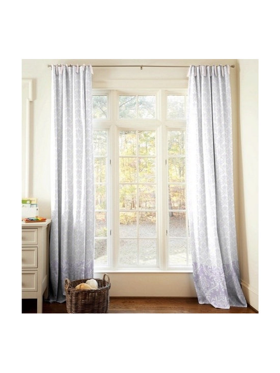 Lilac and Silver Gray Damask Drapes - Window Drape Panel by Carousel Designs