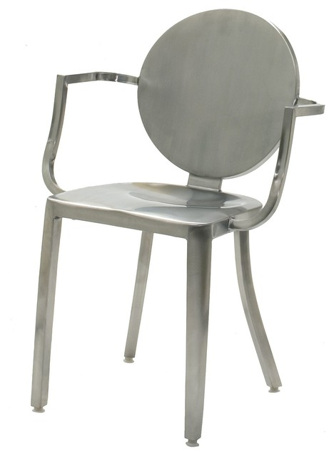 Indoor Stainless Steel Dining Chair, Brushed contemporary-dining ...