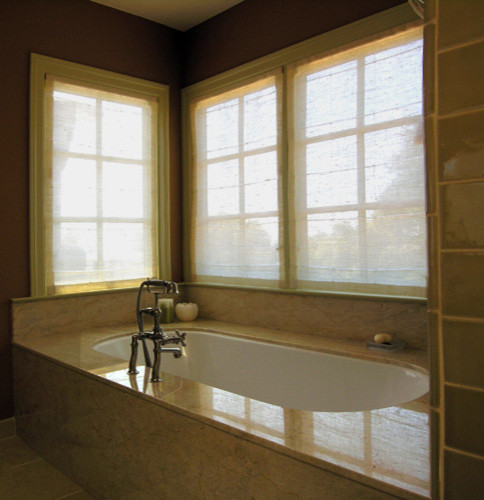 Bathroom sheers allow for privacy but let light in asian roman blinds