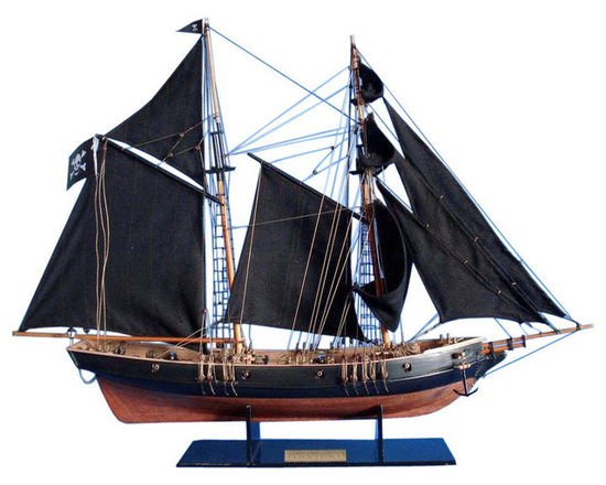 """Handcrafted Model Ships - Ben Franklin's Black Prince Limited 24"""" - Wooden Pirate Ship - Sold Fully Assembled"""