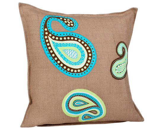 ecoaccents Blue and Green Paisley Washed Burlap Pillow