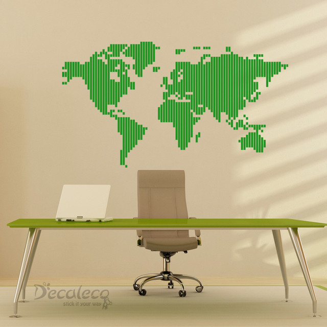 STRIPED World Map wall decal  decals
