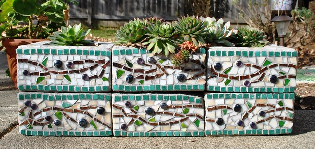 Cinder Block Mosaic Planter eclectic-outdoor-pots-and-planters