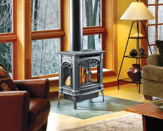 Lopi by Travis Industries - Lopi Northfield GreenSmart Gas Stove - Includes Ember-Fyre Burner, Comfort Control Feature, interior Accent Light, and 3-sided glass. Optional 130 CFM Fan and GreenSmart Remote Control.