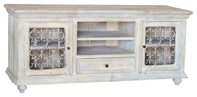 Santa Fe White TV Stand, White - Farmhouse - Entertainment Centers And Tv Stands - by SmartFurniture