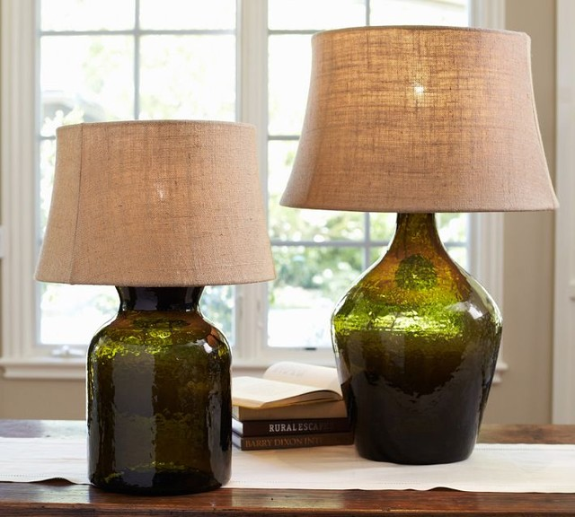 Clift Glass Table Lamp Base, Green - Contemporary - Lamp Bases - by Pottery Barn