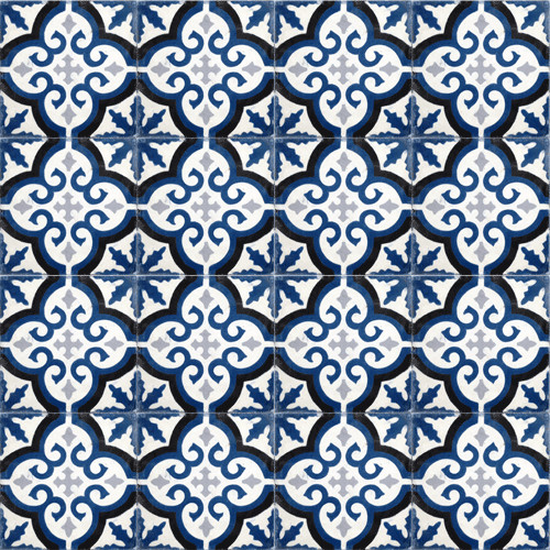 Navy Blue Medallion Cement Tile Traditional Wall And Floor