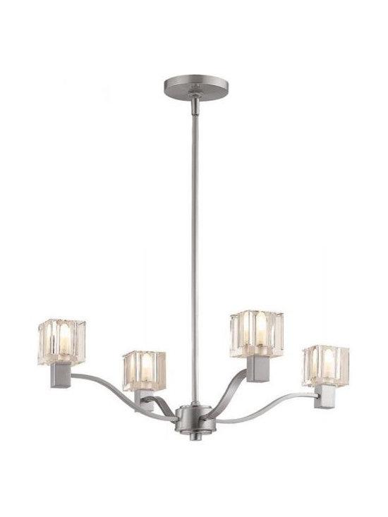 Access Lighting 23835-SAT/CCL Four Light Nickel Up Chandelier -