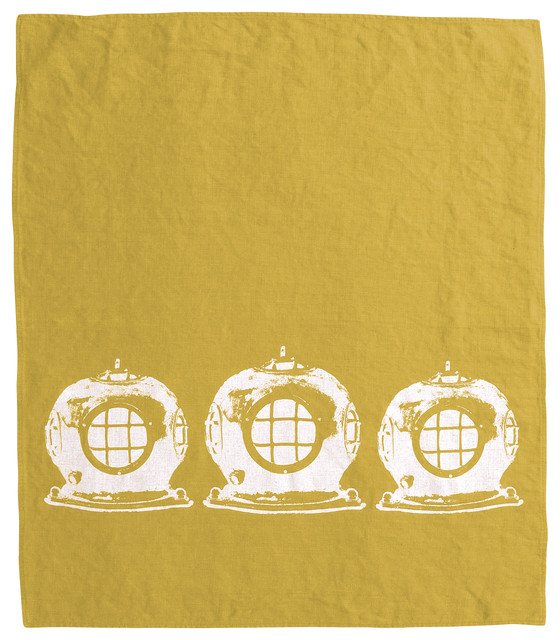 Montauk Diving Helmet Hand Towel, Curry/White contemporary-dish-towels