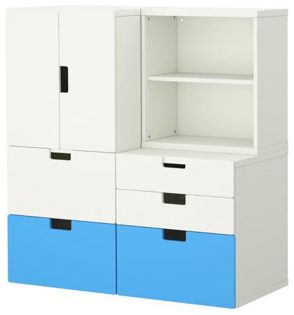 Stuva Storage Combination With Doors/Drawers, Blue/White modern-toy-storage