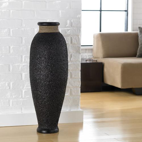 Ubud Rice Husk Round Urn Floor Vase Modern Home Decor