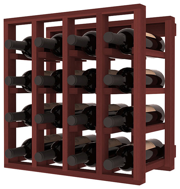 Lattice Stacking Wine Cubicle in Redwood with Walnut Stain traditional-wine-racks