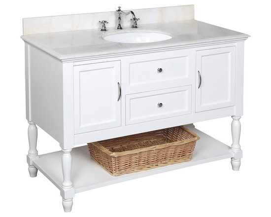 Kitchen Bath Collection - Beverly 48-in Bath Vanity (White/White) - This bathroom vanity set by Kitchen Bath Collection includes a white cabinet with soft close drawers, white marble countertop, single undermount ceramic sink, pop-up drain, and P-trap. Order now and we will include the pictured three-hole faucet and a matching backsplash as a free gift! All vanities come fully assembled by the manufacturer, with countertop & sink pre-installed.