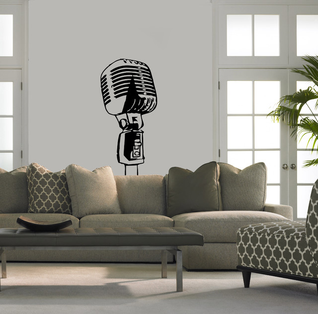Wall Vinyl Sticker Decals Art Mural Stylish Microphone A1316 ...